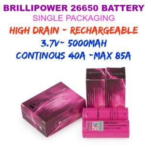 IMR by BRILLIPOWER 26650 BATTERY-80A MAX -5000 mAh - 3.7V (1pc/pack)